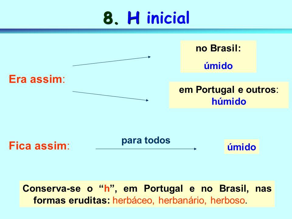 8. H inicial Era assim: Fica assim: no Brasil: úmido