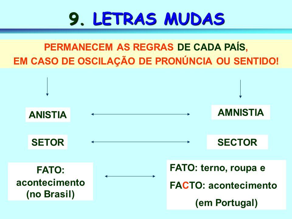 9. LETRAS MUDAS PERMANECEM AS REGRAS DE CADA PAÍS,