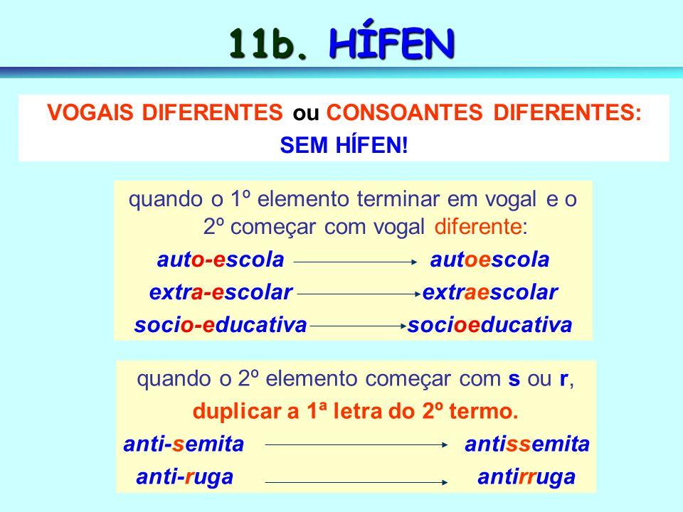 11b. HÍFEN VOGAIS DIFERENTES ou CONSOANTES DIFERENTES: SEM HÍFEN!