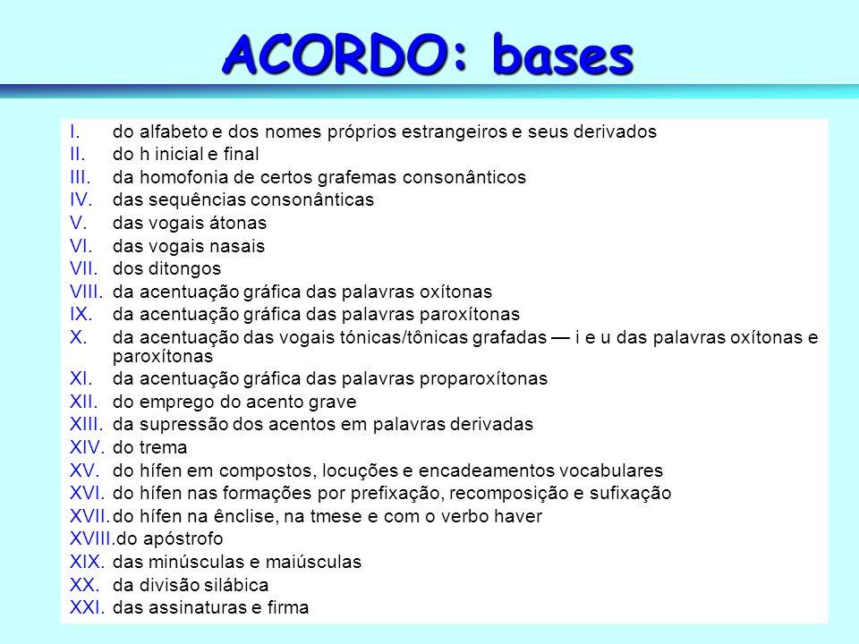 ACORDO: bases do alfabeto e dos nomes próprios estrangeiros e seus derivados. do h inicial e final.