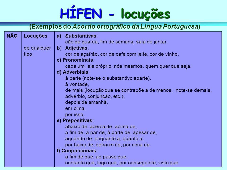 (Exemplos do Acordo ortográfico da Língua Portuguesa)