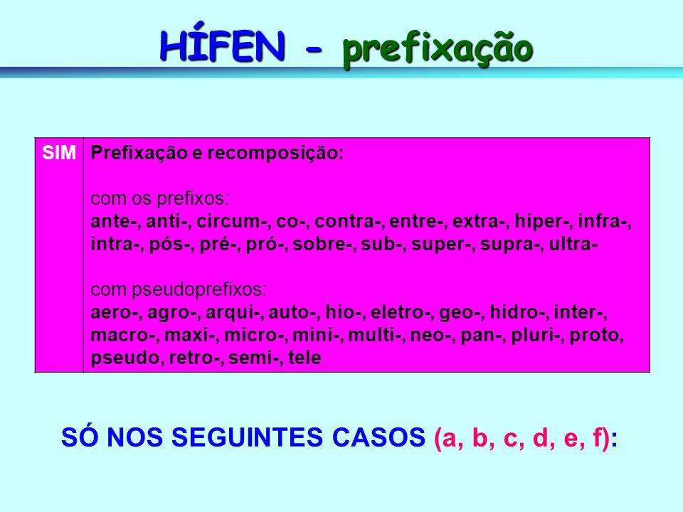 HÍFEN - prefixação SÓ NOS SEGUINTES CASOS (a, b, c, d, e, f): SIM