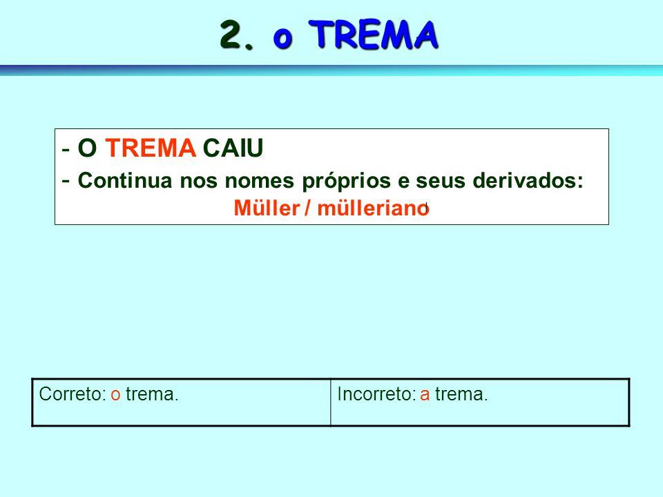 2. o TREMA O TREMA CAIU Continua nos nomes próprios e seus derivados: