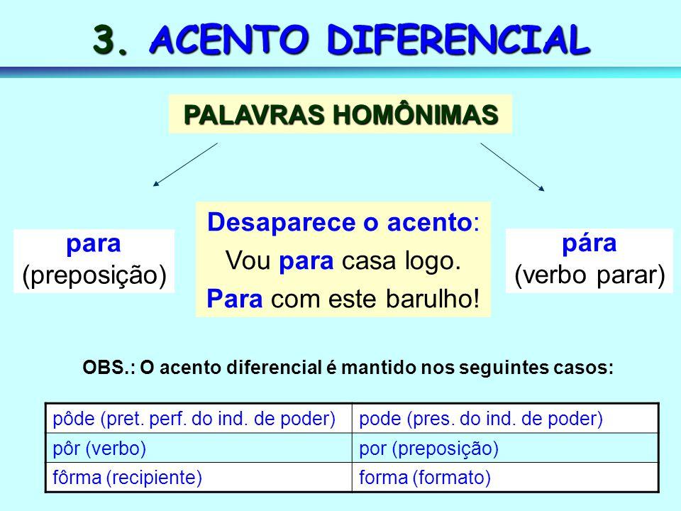 3. ACENTO DIFERENCIAL PALAVRAS HOMÔNIMAS Desaparece o acento: