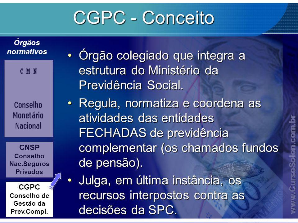 CGPC - Conceito Órgãos normativos. Órgão colegiado que integra a estrutura do Ministério da Previdência Social.