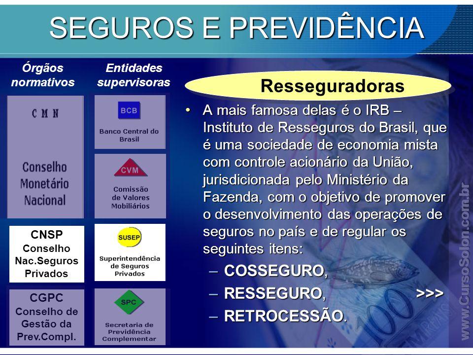SEGUROS E PREVIDÊNCIA Resseguradoras COSSEGURO,