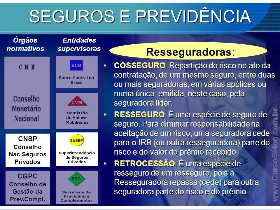 SEGUROS E PREVIDÊNCIA Resseguradoras: