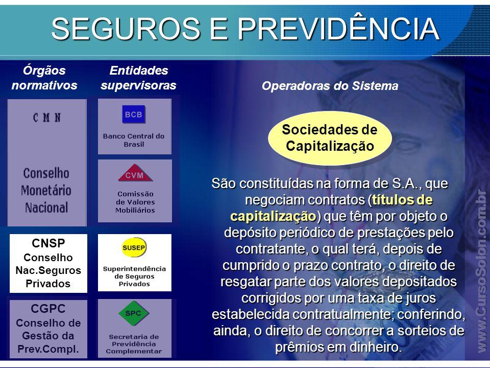 SEGUROS E PREVIDÊNCIA Sociedades de Capitalização