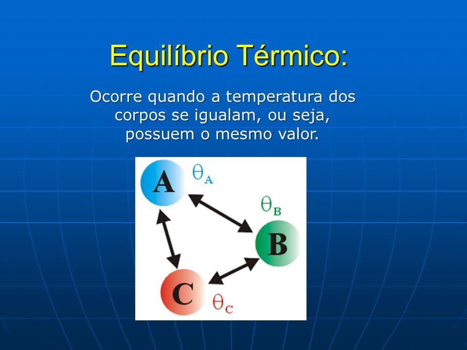 Equilíbrio Térmico: Ocorre quando a temperatura dos corpos se igualam, ou seja, possuem o mesmo valor.