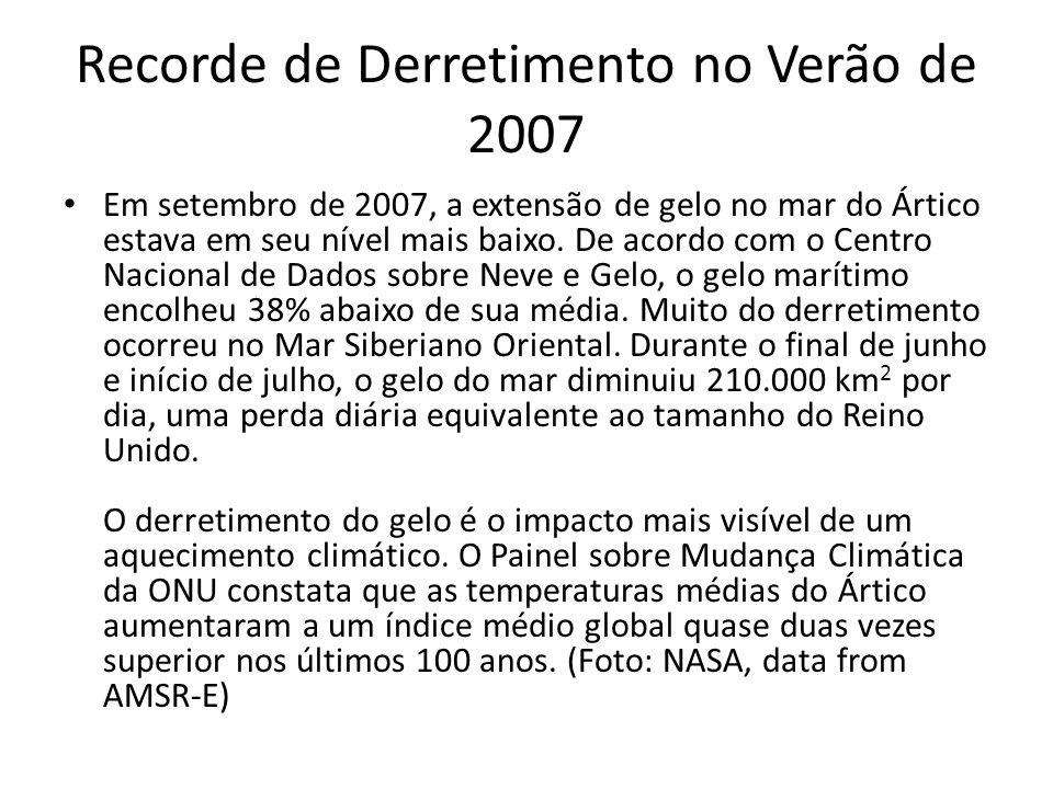 Recorde de Derretimento no Verão de 2007