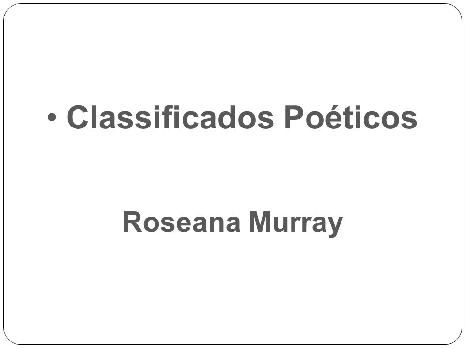 Classificados Poéticos