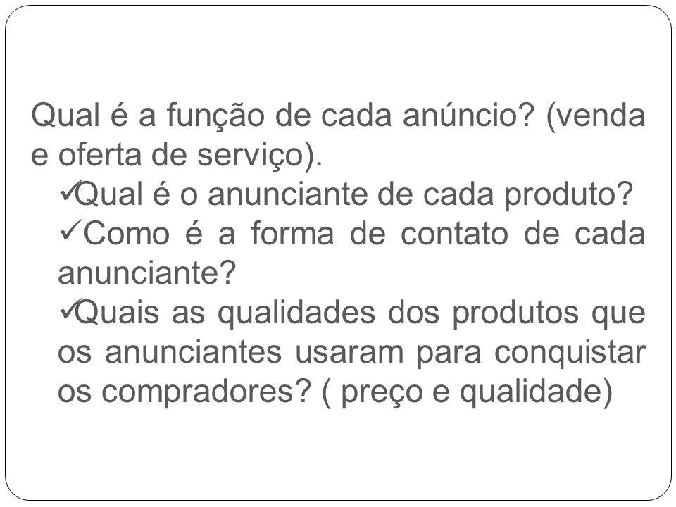 Qual é a função de cada anúncio (venda e oferta de serviço).