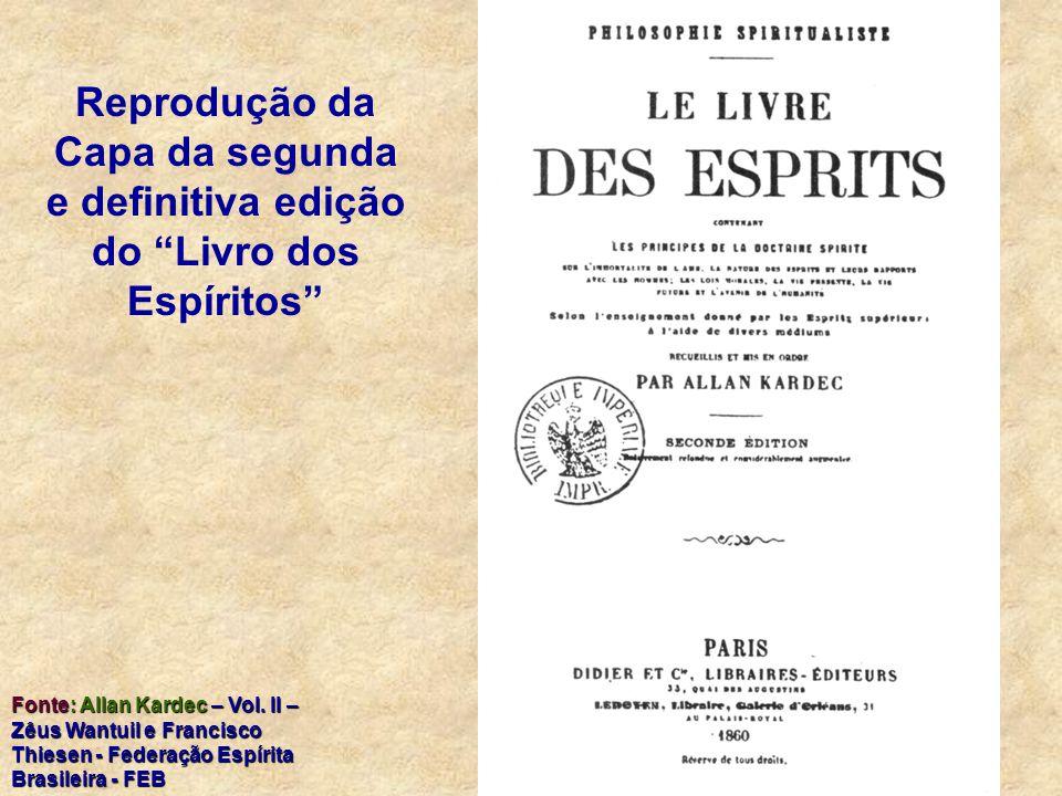 Reprodução da Capa da segunda e definitiva edição do Livro dos Espíritos