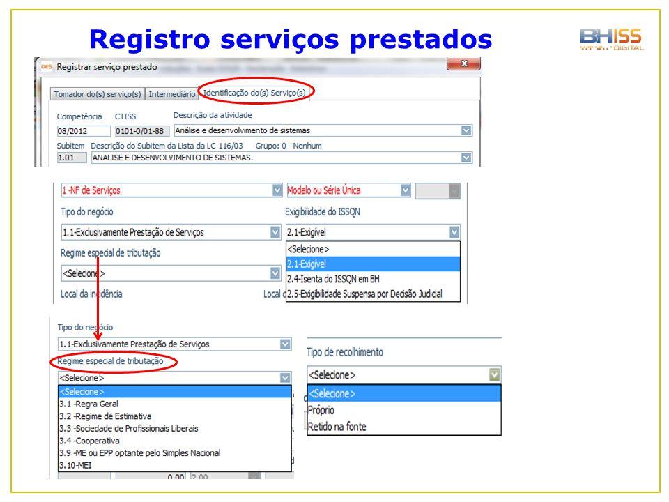 Registro serviços prestados
