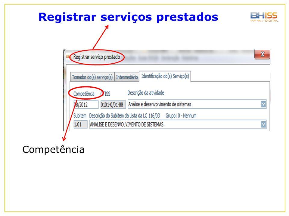 Registrar serviços prestados