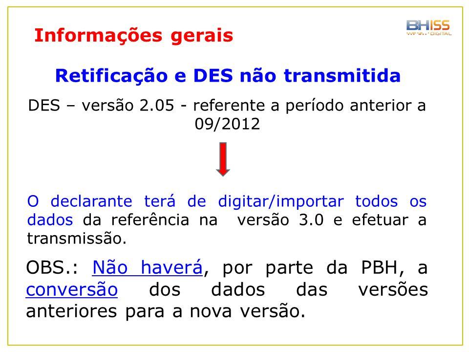 DES – versão 2.05 - referente a período anterior a 09/2012