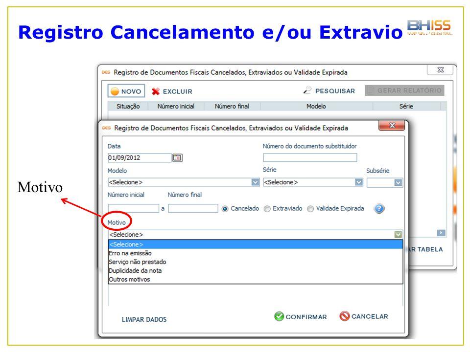 Registro Cancelamento e/ou Extravio