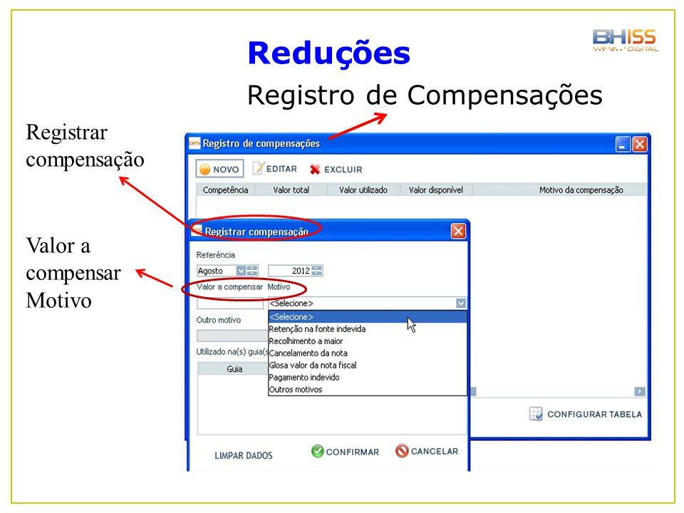 Reduções Registro de Compensações Registrar compensação