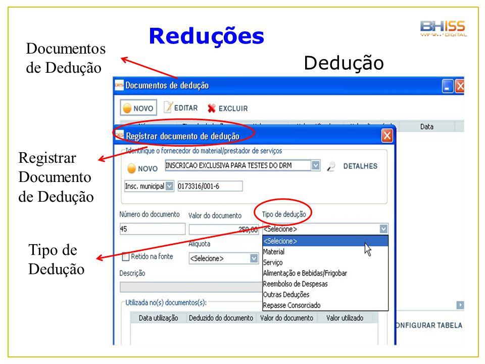 Reduções Dedução Documentos de Dedução Registrar Documento de Dedução