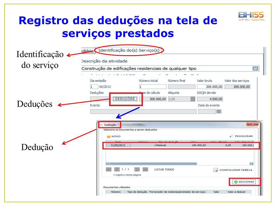 Registro das deduções na tela de serviços prestados