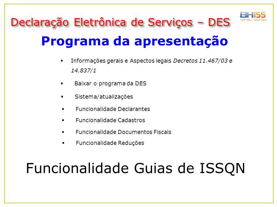 Funcionalidade Guias de ISSQN