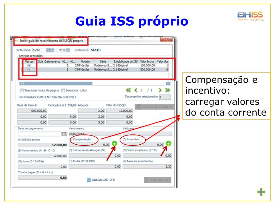 Guia ISS próprio Compensação e incentivo: