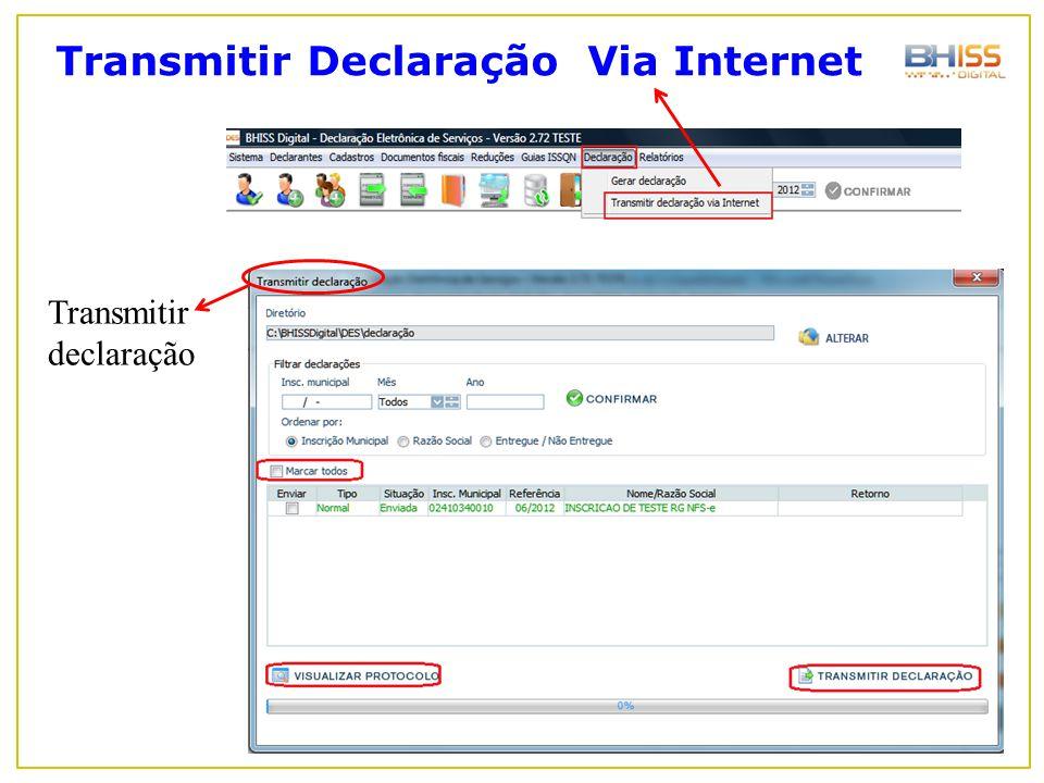 Transmitir Declaração Via Internet