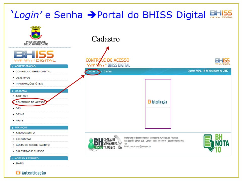 'Login' e Senha Portal do BHISS Digital