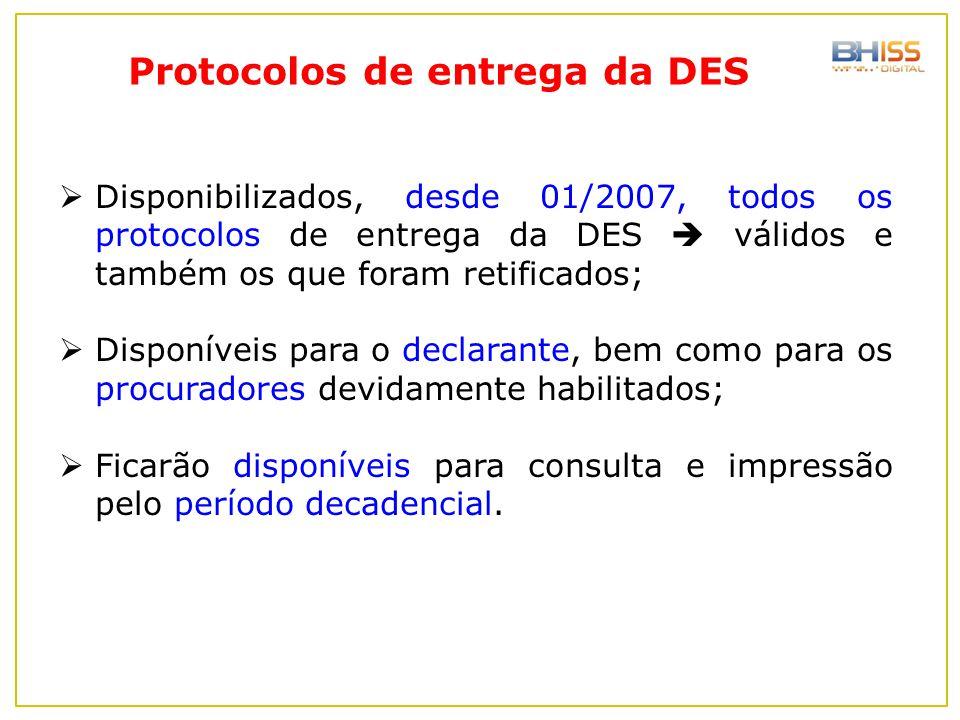 Protocolos de entrega da DES