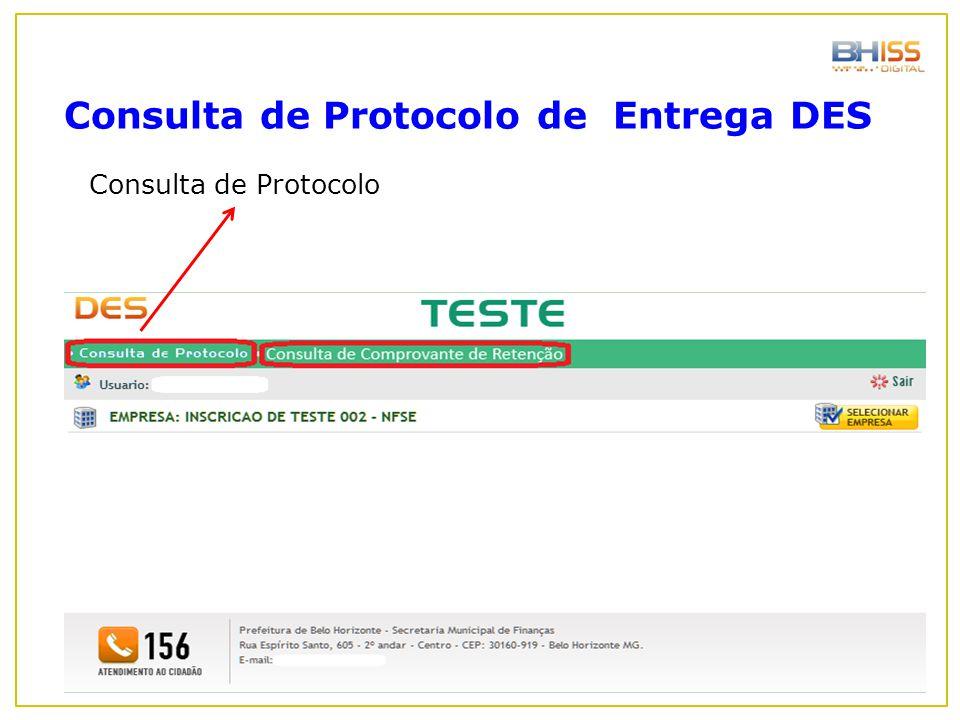 Consulta de Protocolo de Entrega DES
