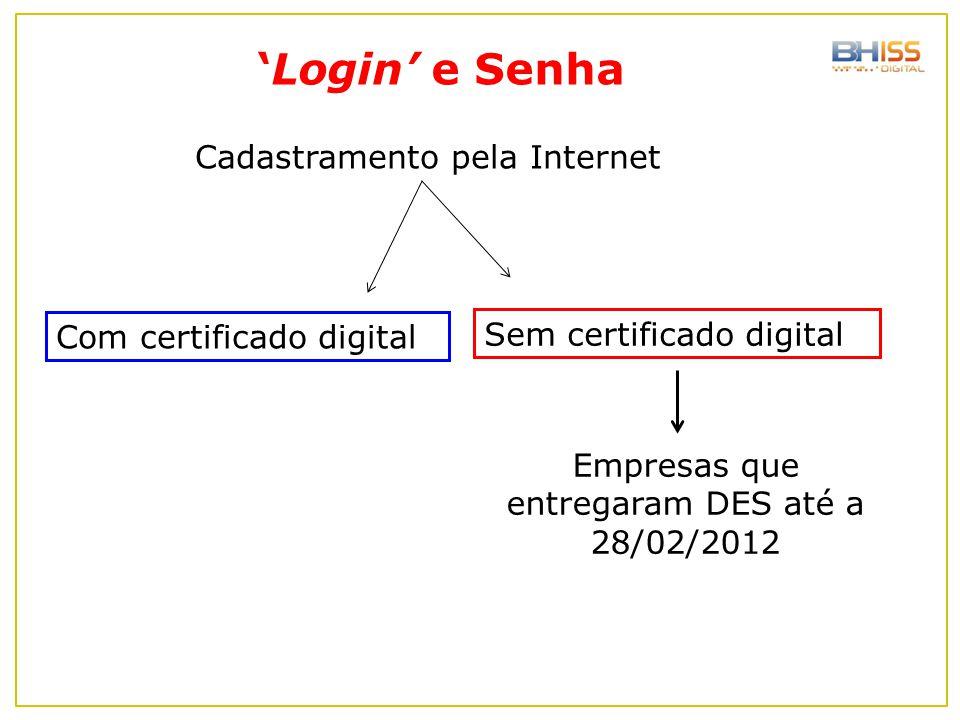 Empresas que entregaram DES até a 28/02/2012