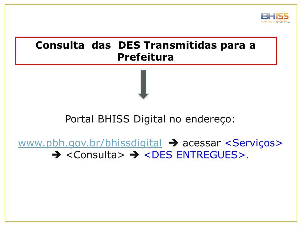 Consulta das DES Transmitidas para a Prefeitura