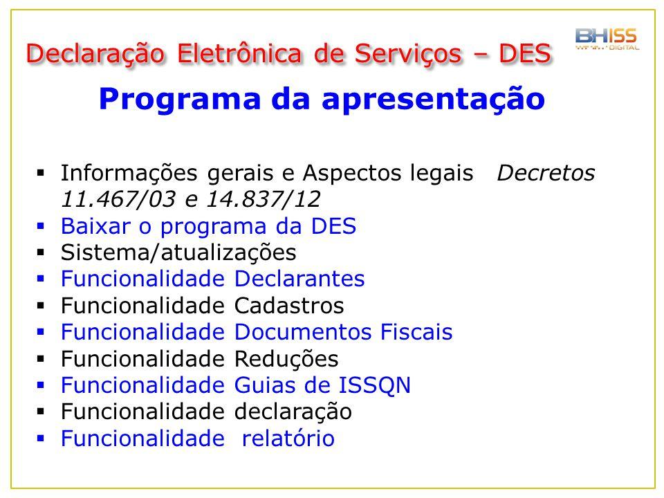 Programa da apresentação