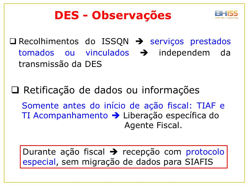 DES - Observações Retificação de dados ou informações