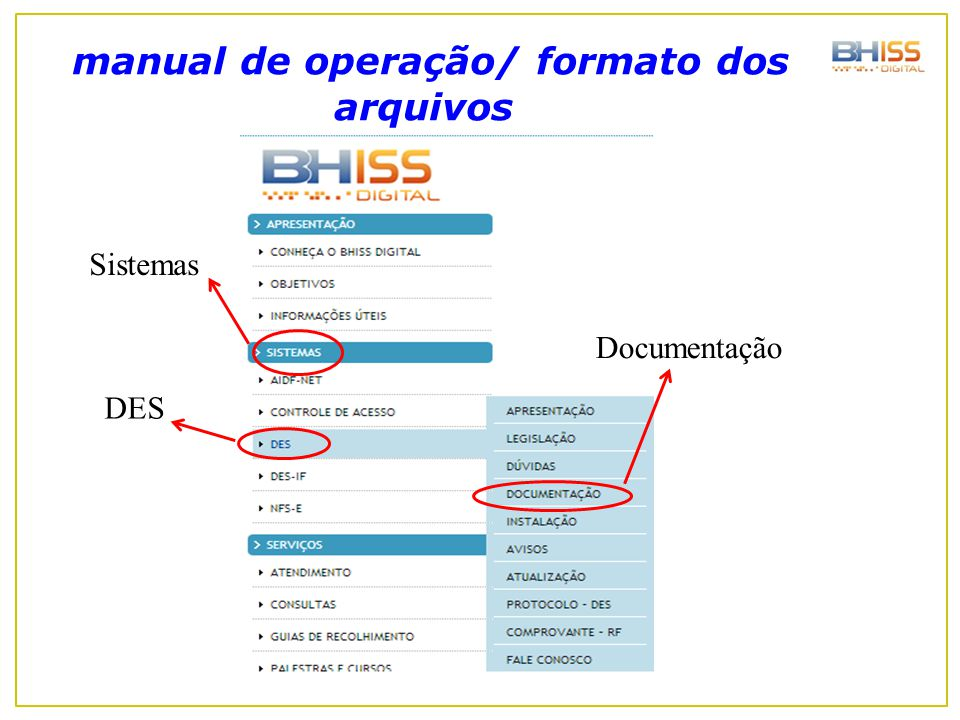 manual de operação/ formato dos arquivos