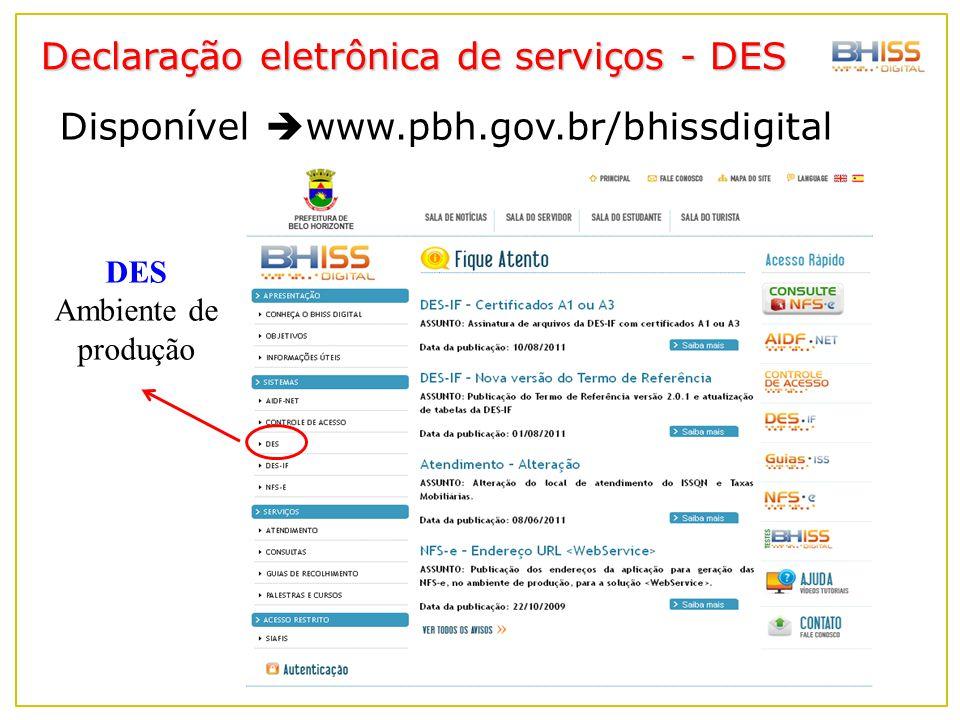 Declaração eletrônica de serviços - DES