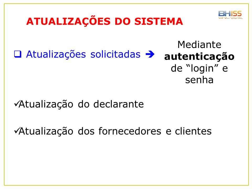 Mediante autenticação de login e senha