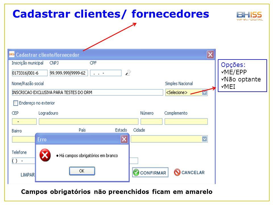 Cadastrar clientes/ fornecedores