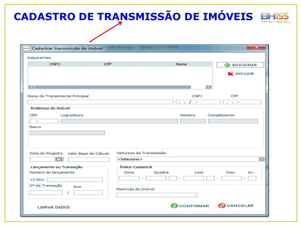 CADASTRO DE TRANSMISSÃO DE IMÓVEIS