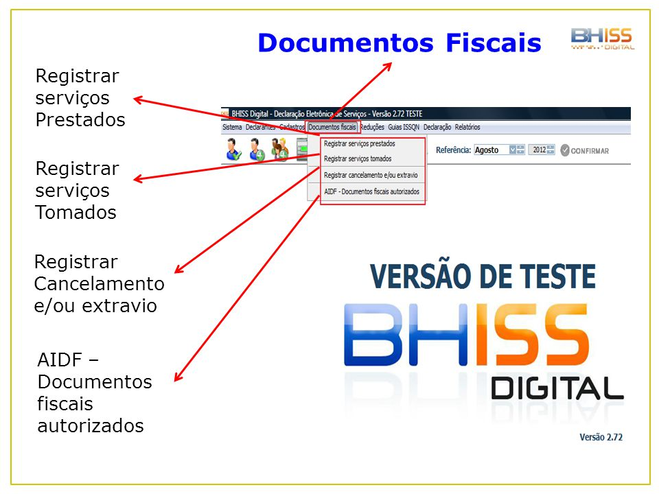 Documentos Fiscais Registrar serviços Prestados