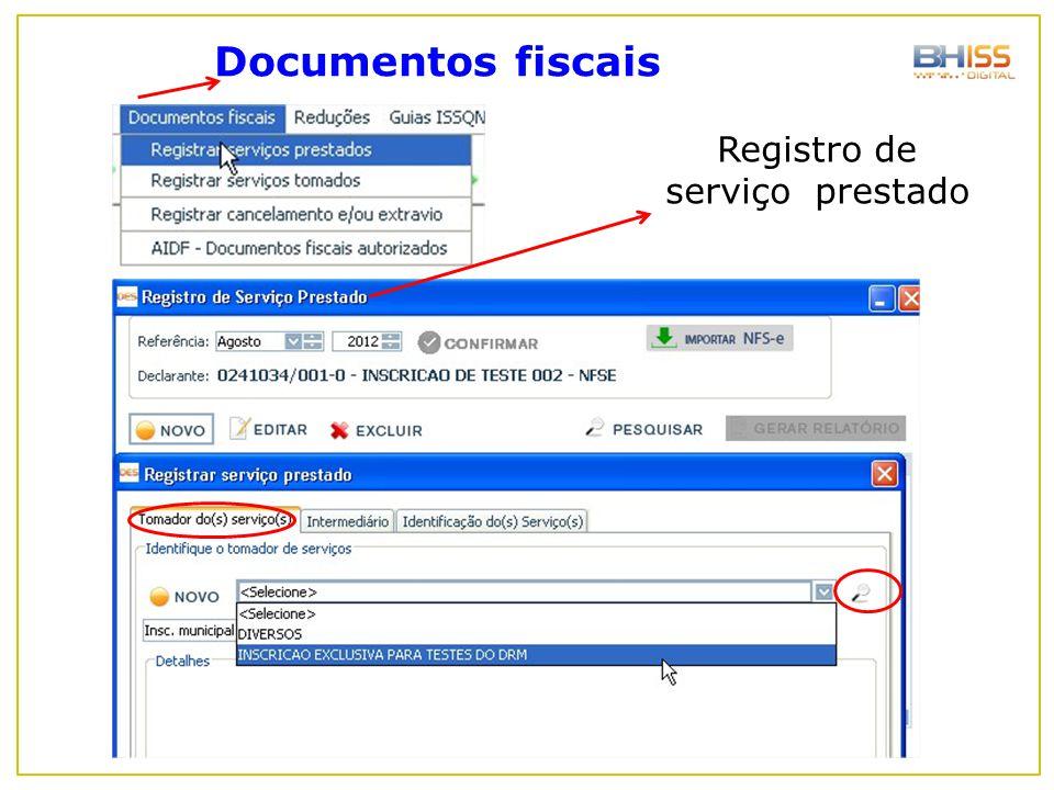 Registro de serviço prestado