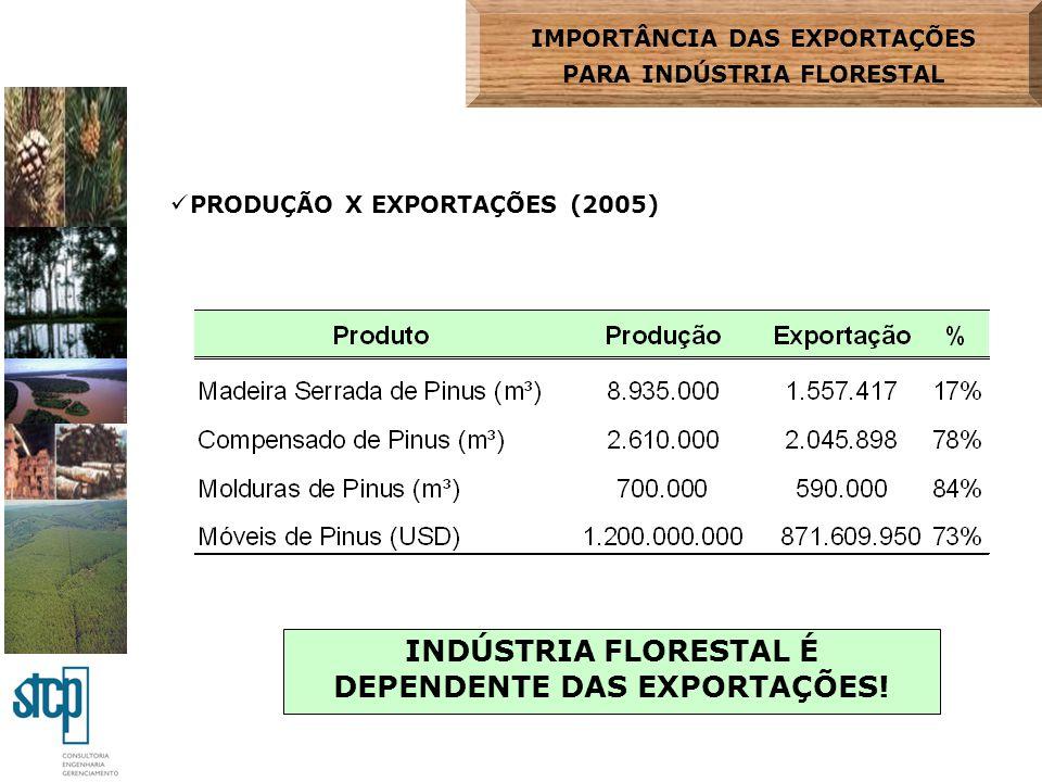 INDÚSTRIA FLORESTAL É DEPENDENTE DAS EXPORTAÇÕES!