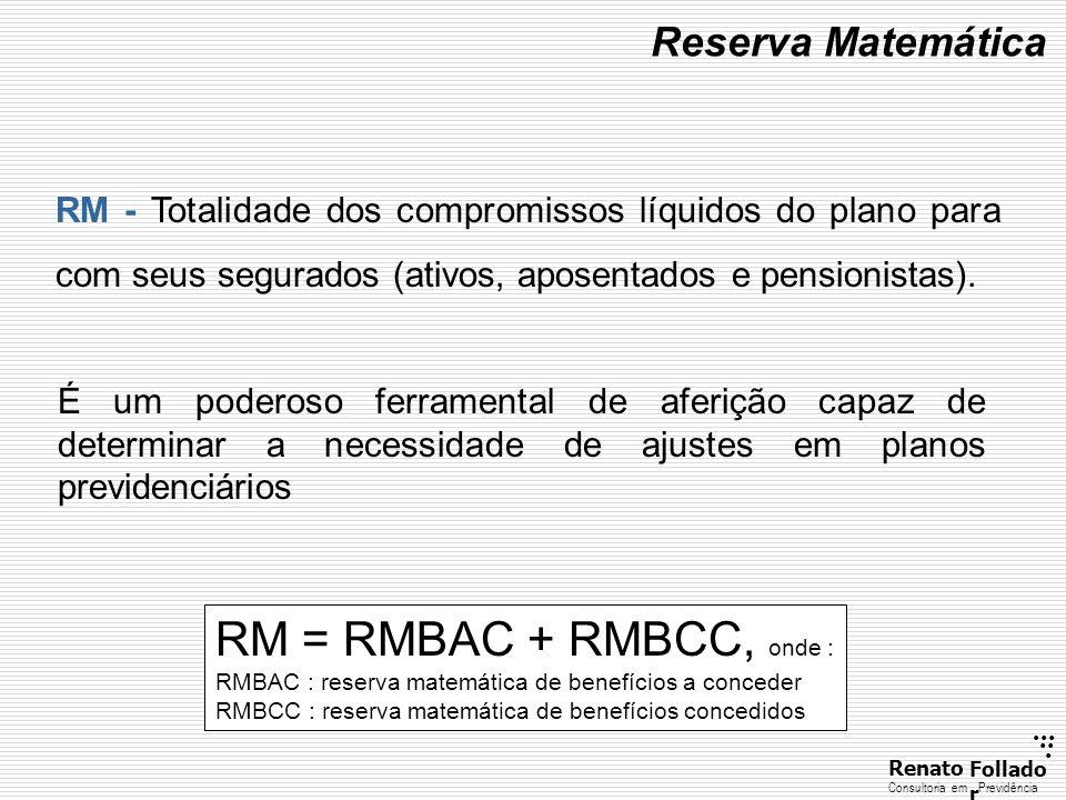 RM = RMBAC + RMBCC, onde : Reserva Matemática