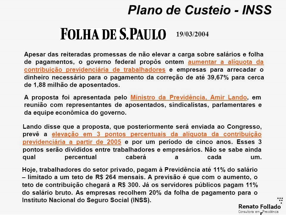 Plano de Custeio - INSS 19/03/2004