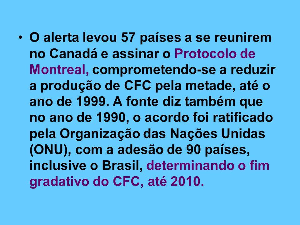 O alerta levou 57 países a se reunirem no Canadá e assinar o Protocolo de Montreal, comprometendo-se a reduzir a produção de CFC pela metade, até o ano de 1999.