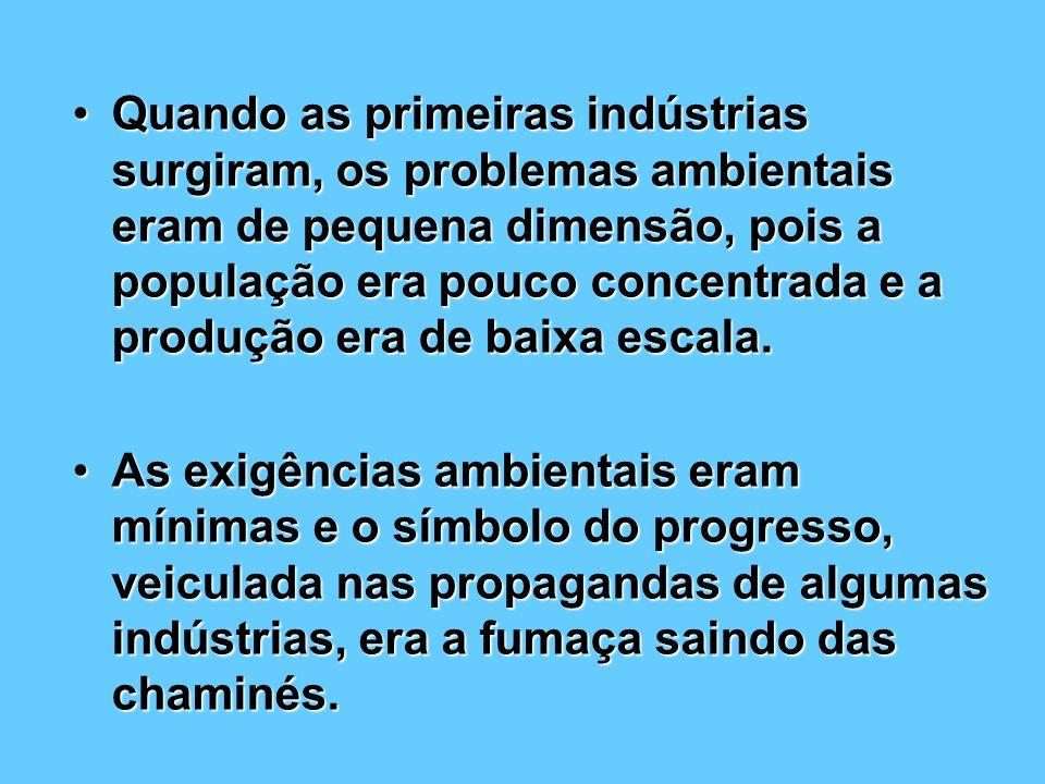 Quando as primeiras indústrias surgiram, os problemas ambientais eram de pequena dimensão, pois a população era pouco concentrada e a produção era de baixa escala.