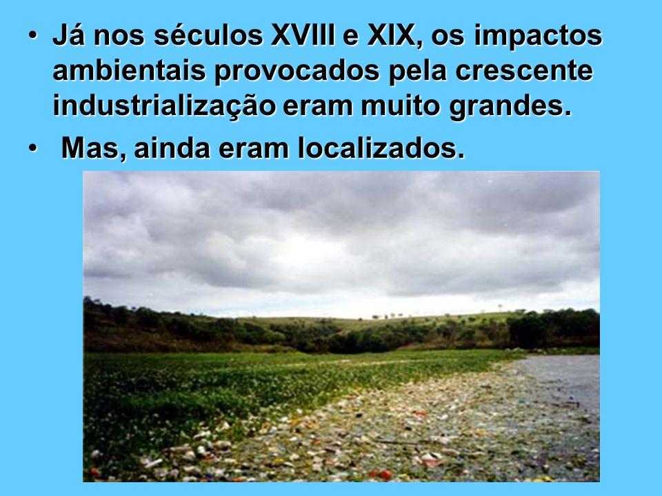 Já nos séculos XVIII e XIX, os impactos ambientais provocados pela crescente industrialização eram muito grandes.