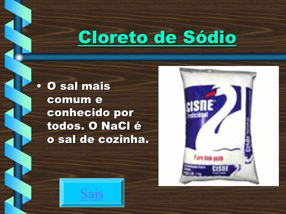 Cloreto de Sódio O sal mais comum e conhecido por todos. O NaCl é o sal de cozinha. Sais