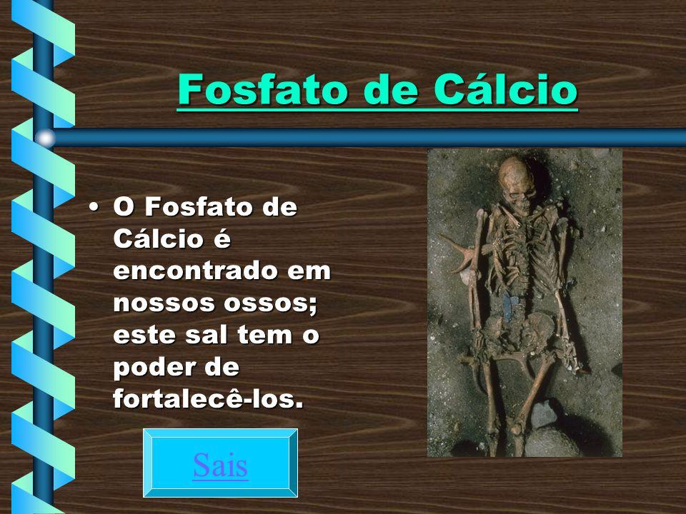 Fosfato de Cálcio O Fosfato de Cálcio é encontrado em nossos ossos; este sal tem o poder de fortalecê-los.