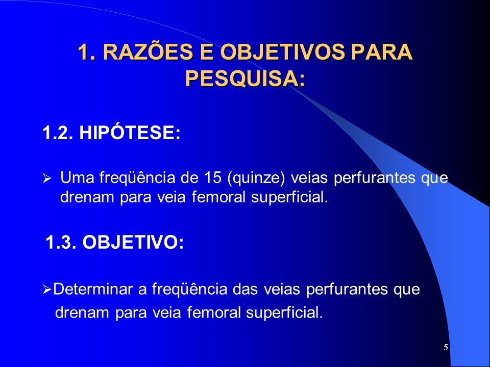 1. RAZÕES E OBJETIVOS PARA PESQUISA: